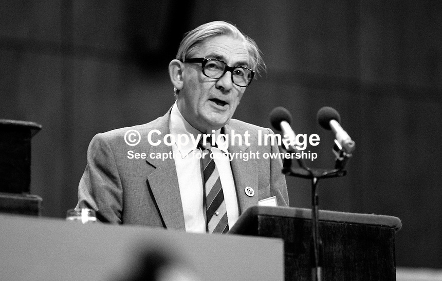 Len Murray, outgoing general secretary, Trades Union Congress, UK,speaking at the organisation's annual conference, 1984.  19840102LM2.<br /> <br /> Copyright Image from Victor Patterson, 54 Dorchester Park, Belfast, UK, BT9 6RJ<br /> <br /> t: +44 28 90661296<br /> m: +44 7802 353836<br /> vm: +44 20 88167153<br /> e1: victorpatterson@me.com<br /> e2: victorpatterson@gmail.com<br /> <br /> For my Terms and Conditions of Use go to www.victorpatterson.com