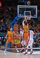 VALENCIA, SPAIN - 05/12/2014. Loncar y Vives del Valencia Basket durante el partido. Pabellon Fuente de San Luis, Valencia, Spain.