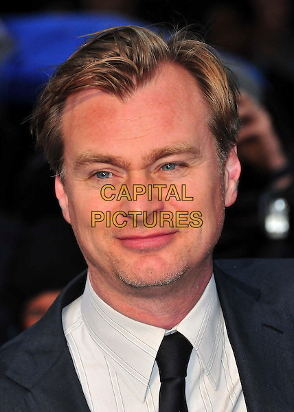 Christopher Nolan<br /> 'Man Of Steel' UK film premiere, Empire cinema, Leicester Square, London, England.<br /> 12th June 2013<br /> headshot portrait grey gray shirt blue suit black tie<br /> CAP/BF<br /> &copy;Bob Fidgeon/Capital Pictures