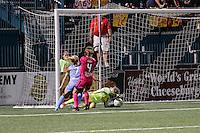 Rochester, NY - Saturday Aug. 27, 2016: Kealia Ohai, Elizabeth Eddy, Sabrina D'Angelo during a regular season National Women's Soccer League (NWSL) match between the Western New York Flash and the Houston Dash at Rochester Rhinos Stadium.