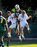 22 September 2008: University of Vermont Catamounts' backfielder Connor Tobin (15), a Senior from Fort Collins, CO, is sandwiched by Colgate University Raiders' forward Matt Schuber (6), a Freshman from Webster, NY and midfielder Alex Weekes (10), a Junior from Stroudsburg, PA at Centennial Field, in Burlington, Vermont. The Raiders edged out the Catamounts 2-1, handing the Soccer Catamounts their first home loss of the 2008 season. ..Mandatory Photo Credit: Ed Wolfstein Photo