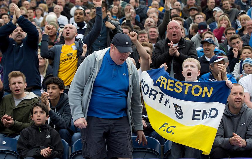 Preston North End fans watch their team win 3-0<br /> <br /> Photographer Stephen White/CameraSport<br /> <br /> Football - The Football League Sky Bet League One Semi-Final Second Leg - Preston North End -  Chesterfield - Deepdale - Preston<br /> <br /> &copy; CameraSport - 43 Linden Ave. Countesthorpe. Leicester. England. LE8 5PG - Tel: +44 (0) 116 277 4147 - admin@camerasport.com - www.camerasport.com