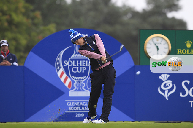 Anne Van Dam of Team Europe on the 17th tee during Day 2 Fourball at the Solheim Cup 2019, Gleneagles Golf CLub, Auchterarder, Perthshire, Scotland. 14/09/2019.<br /> Picture Thos Caffrey / Golffile.ie<br /> <br /> All photo usage must carry mandatory copyright credit (© Golffile | Thos Caffrey)
