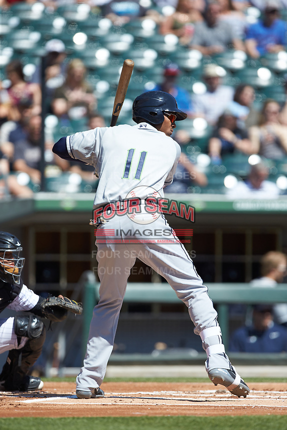 Carlos Franco (11) of the Gwinnett Stripers at bat against the Charlotte Knights at BB&T BallPark on May 2, 2018 in Charlotte, North Carolina.  The Knights defeated the Stripers 6-5.  (Brian Westerholt/Four Seam Images)