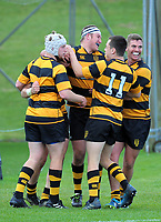 Taranaki players celebrate Brayton Northcott-Hill's try during the Jock Hobbs Memorial Under-19 Tournament rugby match between Taranaki and Otago at Owen Delany Park in Taupo, New Zealand on Saturday, 16 September 2012. Photo: Dave Lintott / lintottphoto.co.nz
