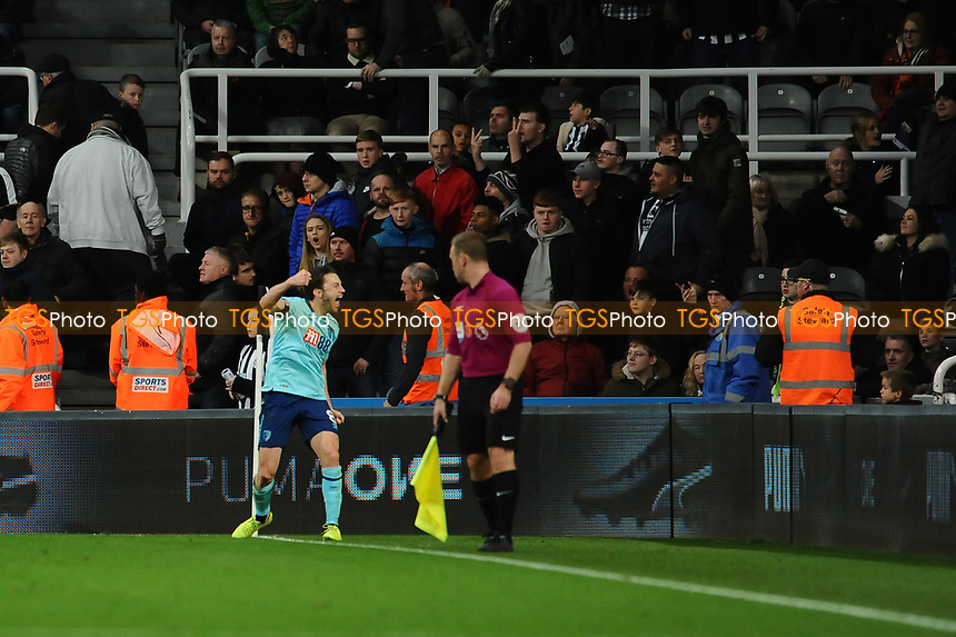 Harry Arter of Bournemouth celebrates after Steve Cook of Bournemouth opening goal during Newcastle United vs AFC Bournemouth, Premier League Football at St. James' Park on 4th November 2017