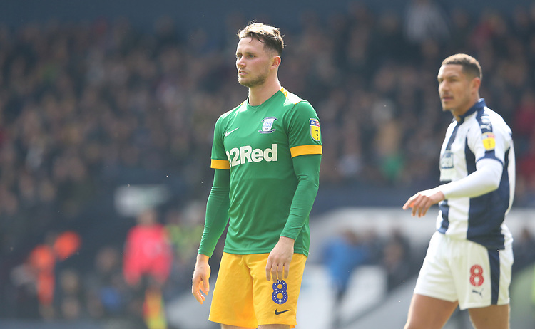 Preston North End's Alan Browne shows his frustration as his team loses 4-1<br /> <br /> Photographer Stephen White/CameraSport<br /> <br /> The EFL Sky Bet Championship - West Bromwich Albion v Preston North End - Saturday 13th April 2019 - The Hawthorns - West Bromwich<br /> <br /> World Copyright © 2019 CameraSport. All rights reserved. 43 Linden Ave. Countesthorpe. Leicester. England. LE8 5PG - Tel: +44 (0) 116 277 4147 - admin@camerasport.com - www.camerasport.com