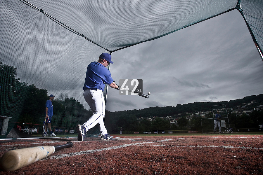 14 July 2010: David Gauthier of Team France is seen in the batting cage during day 2 of the Open de Rouen, an international tournament with Team France, Team Saint Martin, Team All Star Elite, at Stade Pierre Rolland, in Rouen, France.