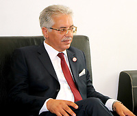 Amor Mansour, Tunisia's former minister of justice, submits his candidacy for the upcoming early presidential elections at the Independent High Authority for Elections (ISIE) in the capital Tunis on August 9, 2019. - Presidential hopefuls in Tunisia began registering their candidacies on August 2 for snap September polls called after the death of 92-year-old leader Beji Caid Essebsi.<br /> <br /> PHOTO : Agence Quebec Presse - jdidi wassim