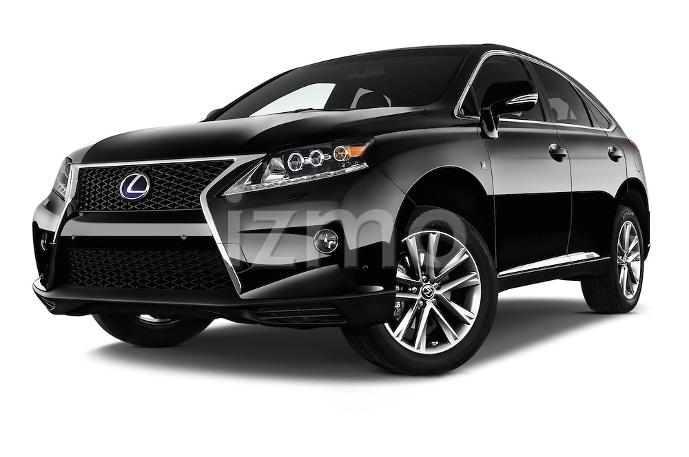 Stock pictures of low aggressive front three quarter view of a 2015 Lexus RX F Sport 5 Door SUV 2WD Low Aggressive