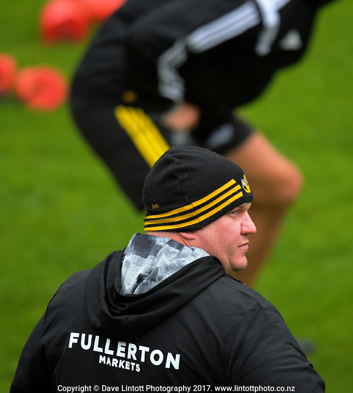 Scrum coach Dan Cron.  Hurricanes rugby union training at Rugby League Park in Wellington, New Zealand on Wednesday, 5 April 2017. Photo: Dave Lintott / lintottphoto.co.nz