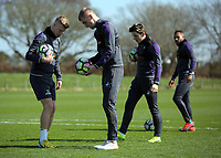 Pictured L-R: Adam King and Oliver McBurnie prepare to practice penalties Friday 24 March 2017<br /> Re: Swansea City U23 training ahead of their International Cup game against Porto, Fairwood training ground, UK