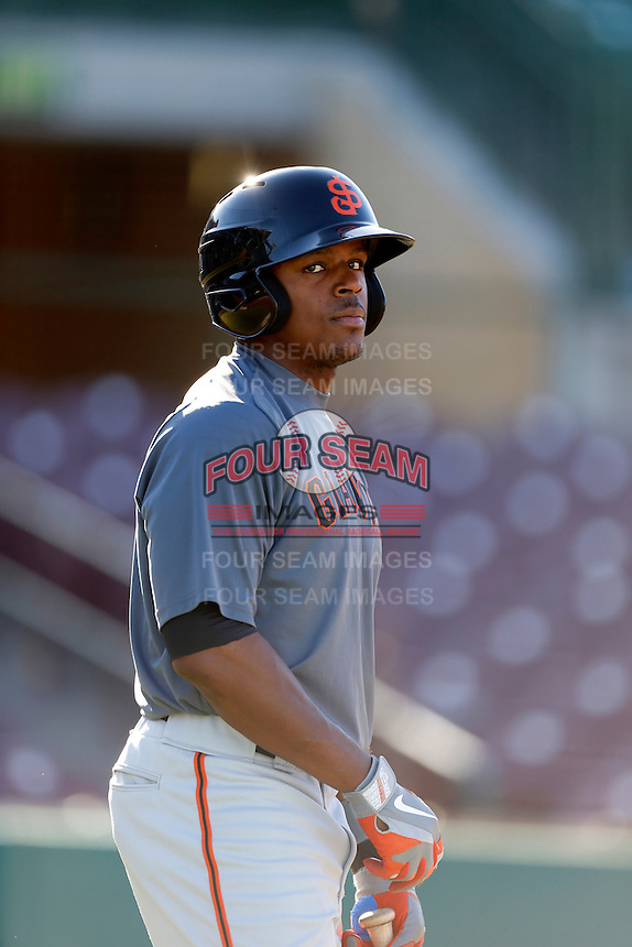 Shawn Payne #7 of the San Jose Giants before a game against the Inland Empire 66'ers on April 18, 2013 at San Manuel Stadium in San Bernardino, California. (Larry Goren/Four Seam Images)