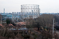 Milano, quartiere Bovisa, periferia nord. I gasometri nell'area dismessa delle ex officine del gas --- Milan. Bovisa district, north periphery. Abandoned area of old gasometers