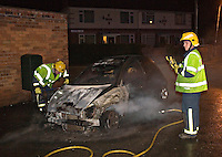 The Remains of a Ford KA car smouldering following a severe fire Warwickshire UK. This image may only be used to portray the subject in a positive manner..©shoutpictures.com..john@shoutpictures.com