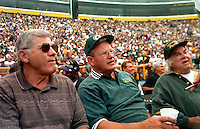 Former Green Bay Packers players Doug Hart and Ray Nitschke on the sidelines of Lambeau Field during the annual alumni game on September 14, 1997. Part of the Packers' commitment to the fans involves bringing back past Packers for an alumni appreciation day. Ray died in 1998 at the age of 61.