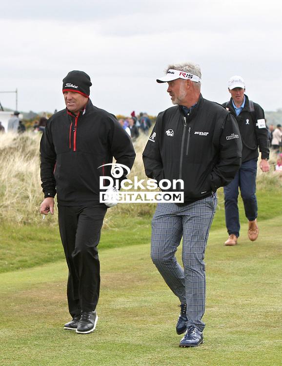 27 May 2015; Shane Warne chats with Darren Clarke<br /> <br /> Dubai Duty Free Irish Open Golf Championship 2015, Pro-Am. Royal County Down Golf Club, Co. Down. Picture credit: John Dickson / DICKSONDIGITAL