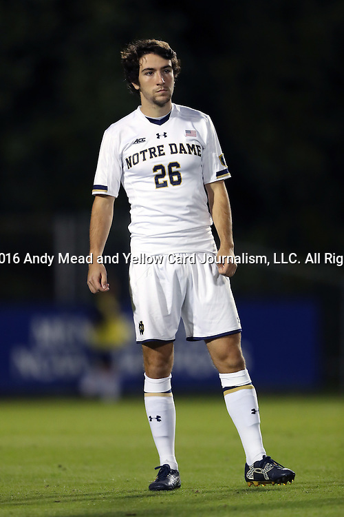 21 October 2016: Notre Dame's Mark Gormley. The Duke University Blue Devils hosted the University of Notre Dame Fighting Irish at Koskinen Stadium in Durham, North Carolina in a 2016 NCAA Division I Men's Soccer match. Duke won the game 2-1 in two overtimes.