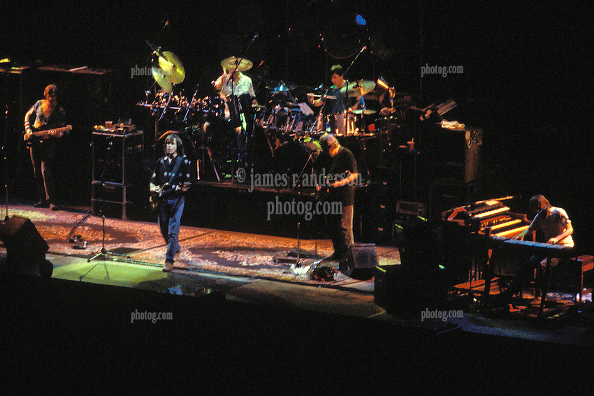 The Grateful Dead in Concert at the Brendan Bryne Arena, East Rutherford NJ, on April 1st 1988. View from front, stage left, all band members in view.