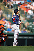Minnesota Twins third baseman Buck Britton (32) at bat during a Spring Training game against the Baltimore Orioles on March 7, 2016 at Ed Smith Stadium in Sarasota, Florida.  Minnesota defeated Baltimore 3-0.  (Mike Janes/Four Seam Images)