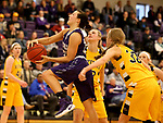 SIOUX FALLS, SD - DECEMBER 31: Mariah Szymanski #22 from the University of Sioux Falls drives to the basket against Augustana University during their game Sunday afternoon December 31, 2017 at the Stewart Center in Sioux Falls. (Photo by Dave Eggen/Inertia)
