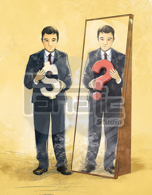 Businessman with dollar while mirror reflecting question mark depicting confusion