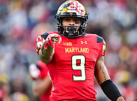 College Park, MD - NOV 11, 2017: Maryland Terrapins wide receiver Jahrvis Davenport (9) points to the sideline during game between Maryland and Penn State at Capital One Field at Maryland Stadium in College Park, MD. (Photo by Phil Peters/Media Images International)