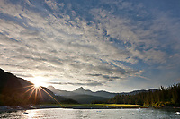Sunset over Nellie Juan Lagoon, Prince William Sound, Chugach National Forest, Kenai Peninsula, southcentral, Alaska.