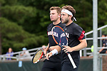 CHAPEL HILL, NC - MAY 13: South Carolina's Gabriel Friedrich (BRA) (right) and Alex Fennell (behind). The University of North Carolina Tar Heels hosted the University of South Carolina Gamecocks on May 13, 2017, at The Cone-Kenfield Tennis Center in Chapel Hill, NC in an NCAA Division I Men's College Tennis Tournament second round match. UNC won 4-1.