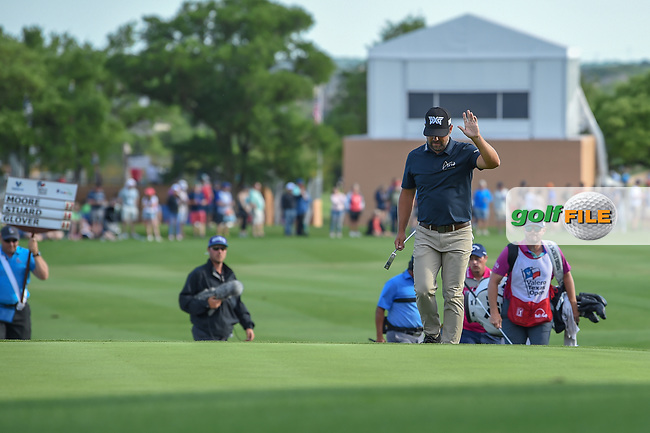 Ryan Moore (USA) waves to the crowd as he's introduced while stepping on the green on 18 during day 4 of the Valero Texas Open, at the TPC San Antonio Oaks Course, San Antonio, Texas, USA. 4/7/2019.<br /> Picture: Golffile   Ken Murray<br /> <br /> <br /> All photo usage must carry mandatory copyright credit (© Golffile   Ken Murray)