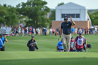 Ryan Moore (USA) waves to the crowd as he's introduced while stepping on the green on 18 during day 4 of the Valero Texas Open, at the TPC San Antonio Oaks Course, San Antonio, Texas, USA. 4/7/2019.<br /> Picture: Golffile | Ken Murray<br /> <br /> <br /> All photo usage must carry mandatory copyright credit (© Golffile | Ken Murray)