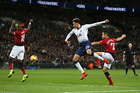 Tottenham Hotspur's Dele Alli with an effort on goal in the first half<br /> <br /> Photographer Rob Newell/CameraSport<br /> <br /> The Premier League - Tottenham Hotspur v Manchester United - Sunday 13th January 2019 - Wembley Stadium - London<br /> <br /> World Copyright &copy; 2019 CameraSport. All rights reserved. 43 Linden Ave. Countesthorpe. Leicester. England. LE8 5PG - Tel: +44 (0) 116 277 4147 - admin@camerasport.com - www.camerasport.com