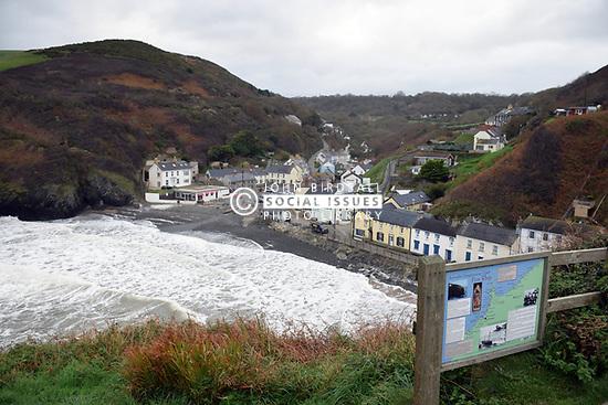 Llangrannog tourist sign, Ceredigion, Wales