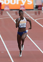 Dina ASHER-SMITH of GBR finishes 4th in the 100m Final during the Sainsbury's Anniversary Games, Athletics event at the Olympic Park, London, England on 25 July 2015. Photo by Andy Rowland.