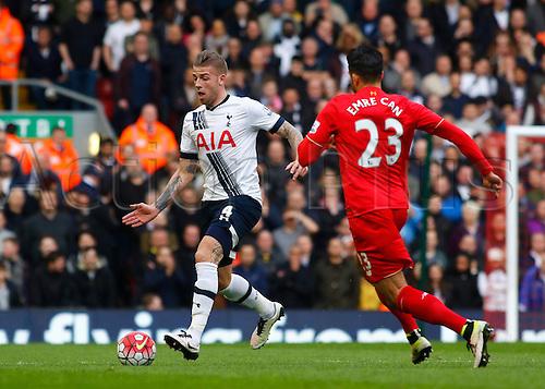02.04.2016. Anfield, Liverpool, England. Barclays Premier League. Liverpool versus Tottenham Hotspur. Liverpool defender Emre Can closes down Spurs defender Toby Alderweireld.