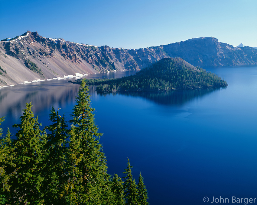 ORCL_032 - USA, Oregon, Crater Lake National Park, West rim of Crater Lake - ORCL_032 - West Rim Of Crater Lake And Wizard Island, Crater Lake