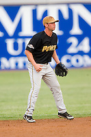West Virginia second baseman Kenny Holmberg (22) on defense versus Hickory at L.P. Frans Stadium in Hickory, NC, Friday, August 24, 2007.