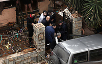 Pictured: An old woman is being transferred to safety from her house.<br /> Re: Pictured:<br /> Re: Five people have reportedly died and severe damage caused by heavy rain and flash flooding in the area of Mandra, near Athens, Greece. Wednesday 15 November 2017