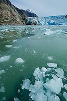 Icy green waters beneath South Sawyer Glacier-Tracy Arm Fjord, Alaska, USA