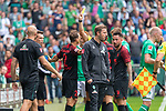 01.09.2019, wohninvest Weserstadion, Bremen, GER, 1.FBL, Werder Bremen vs FC Augsburg, <br /> <br /> DFL REGULATIONS PROHIBIT ANY USE OF PHOTOGRAPHS AS IMAGE SEQUENCES AND/OR QUASI-VIDEO.<br /> <br />  im Bild<br /> <br /> foul Stephan Lichtsteiner (FC Augsburg #03) an Davy Klaassen (Werder Bremen #30) Soeren Storks  (Schiedsrichter / referee) gelbe karte <br /> <br /> Foto © nordphoto / Kokenge