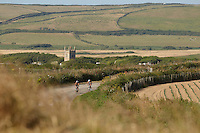 Cyclists on road from Gwithian , Cornwall ,