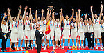 Spain's national basketball team players and gold medalists receive the trophy after European championship basketball final match between Spain and Lithuania on September 20, 2015 in Lille, France  (credit image & photo: Pedja Milosavljevic / STARSPORT)