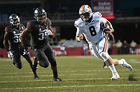 NWA Democrat-Gazette/J.T. WAMPLER  Arkansas Dwayne Eugene Jr. (35) chases Auburn quarterback Jarrett Stidham as he scores a touchdown in the first quarter Saturday Oct. 21, 2017 at Donald W. Reynolds Razorback Stadium in Fayetteville.