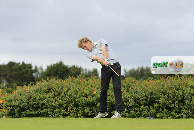 Hugh O'Hare (Fortwilliam) on the 18th tee during R1 of the 2016 Connacht U18 Boys Open, played at Galway Golf Club, Galway, Galway, Ireland. 05/07/2016. <br /> Picture: Thos Caffrey | Golffile<br /> <br /> All photos usage must carry mandatory copyright credit   (&copy; Golffile | Thos Caffrey)