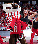March 3, 2010: Wisconsin Badgers mascot Bucky Badger performs with the dance team during a Big Ten Conference NCAA basketball game against the Iowa Hawkeyes on March 3, 2010 in Madison, Wisconsin. The Badgers won 67-40. (Photo by David Stluka)