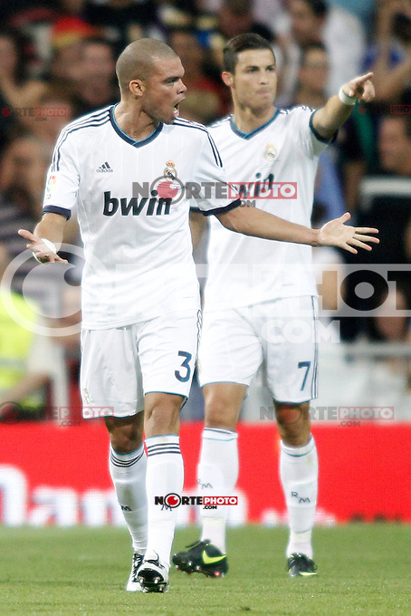 Real Madrid's Pepe and Ronaldo celebrate Ronaldo&acute;s goal and Barcelona's  during Super Copa of Spain on Agost 29th 2012...Photo:  (ALTERPHOTOS/Ricky) Super Cup match. August 29, 2012. <br />
