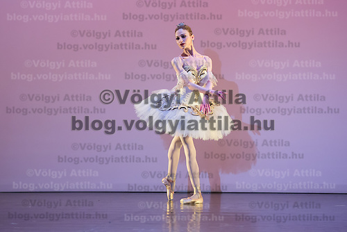 Milena Stoykova from Bulgaria performs her dance variation of Act 3 from The Sleeping Beauty choreographed by Marius Petipa during the Rudolph Nureyev International Ballet Competition in Budapest, Hungary on March 20, 2013. ATTILA VOLGYI