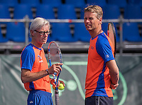 Moscow, Russia, 13 th July, 2016, Tennis,  Davis Cup Russia-Netherlands, Training Dutch team, Coach Martin Bohm (L) with Captain Jan Siemerink<br /> Photo: Henk Koster/tennisimages.com
