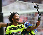 Huddersfield's Isaiah Brown celebrates promotion during the Championship Play-Off Final match at Wembley Stadium, London. Picture date: May 29th, 2017. Pic credit should read: David Klein/Sportimage