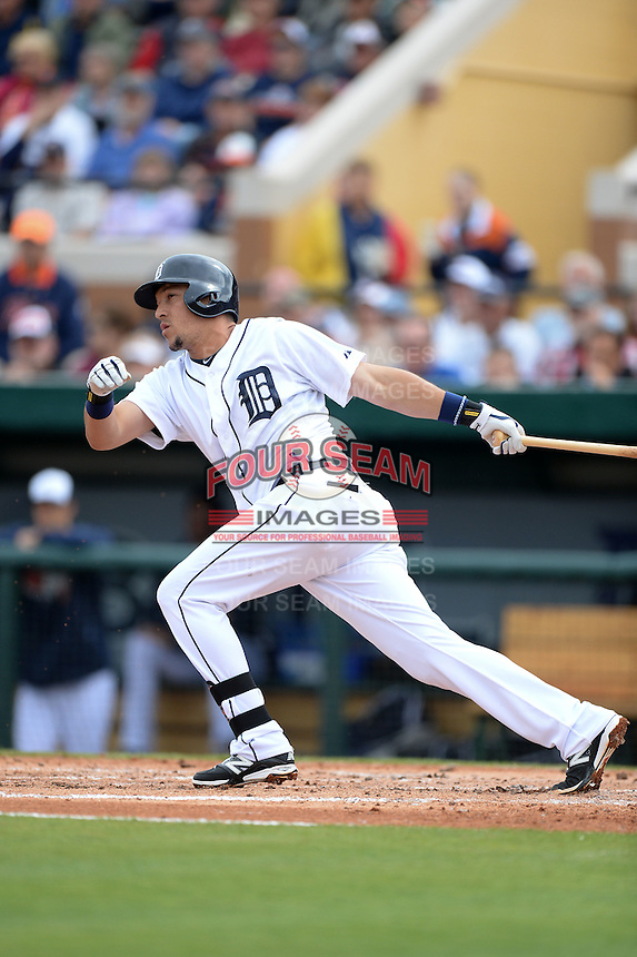 Detroit Tigers shortstop Hernan Perez (26) during a spring training game against the Atlanta Braves on February 27, 2014 at Joker Marchant Stadium in Lakeland, Florida.  Detroit defeated Atlanta 5-2.  (Mike Janes/Four Seam Images)
